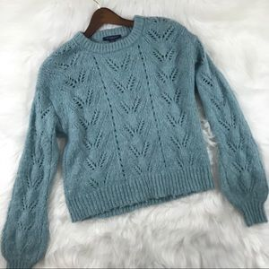 American Eagle Baby Teal Blue Crocheted Sweater